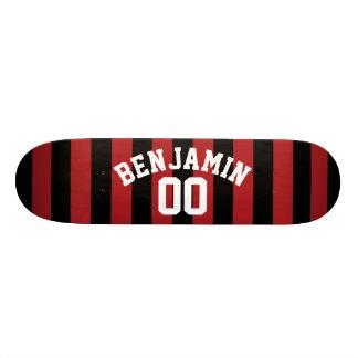 Black and Red Rugby Jersey Stripes Name Number 20.6 Cm Skateboard Deck