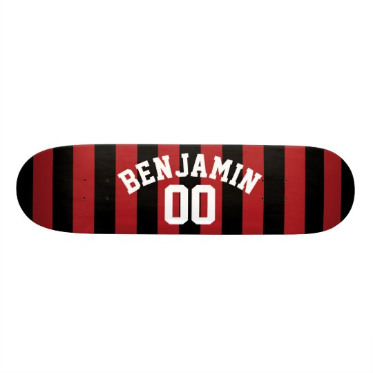 Black and Red Rugby Jersey Stripes Name Number