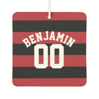 Black and Red Rugby Stripes Name Number