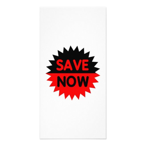 Black and Red Save Now Picture Card