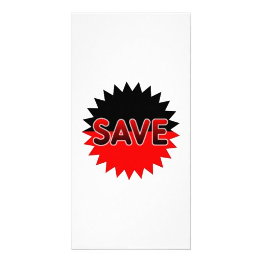 Black and Red Save Photo Greeting Card
