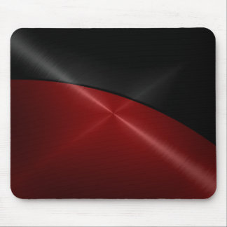 Black and Red Shiny Stainless Steel Metal Mouse Mat
