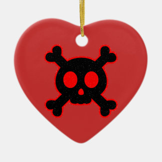 Black and Red Skull Christmas Ornament