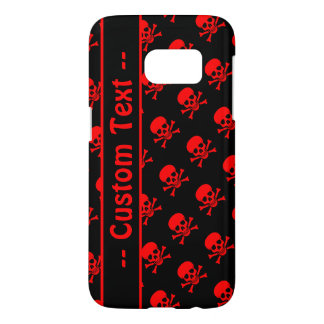Black and Red Skull Pattern Case w/ Custom Text