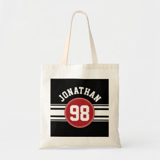 Black and Red Sports Jersey Custom Name Number Budget Tote Bag