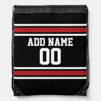 Black and Red Sports Jersey Custom Name Number Drawstring Bags