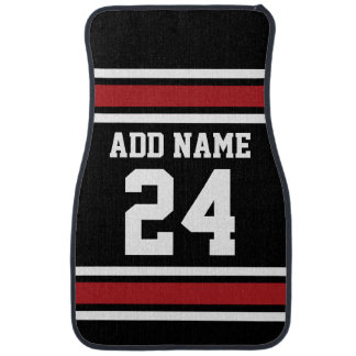 Black and Red Sports Jersey Custom Name Number Floor Mat
