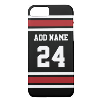Black and Red Sports Jersey Custom Name Number iPhone 8/7 Case