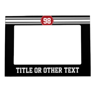 Black and Red Sports Jersey Custom Name Number Magnetic Frame