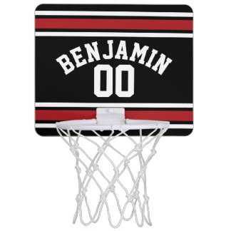 Black and Red Sports Jersey Custom Name Number Mini Basketball Hoop