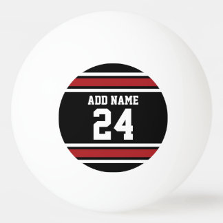 Black and Red Sports Jersey Custom Name Number Ping Pong Ball