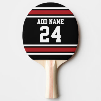 Black and Red Sports Jersey Custom Name Number Ping Pong Paddle