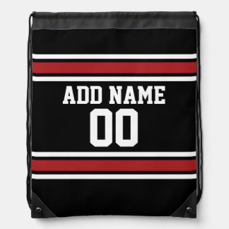 Black and Red Sports Jersey Custom Name Number Drawstring Backpacks