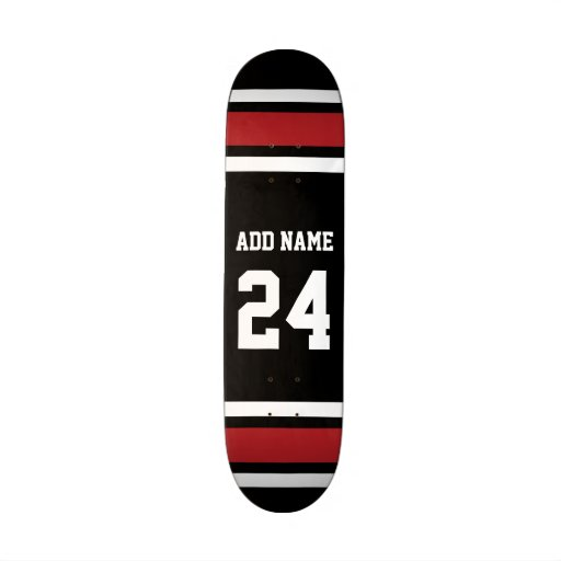 Black and Red Sports Jersey Custom Name Number Skate Board Decks