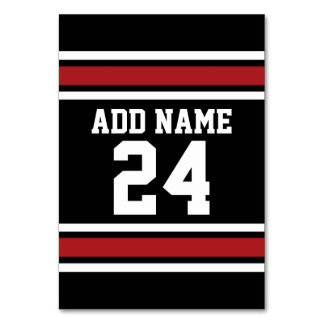 Black and Red Sports Jersey Custom Name Number Table Cards