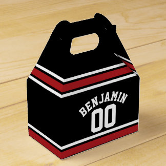 Black and Red Sports Jersey Custom Name Number Wedding Favour Box