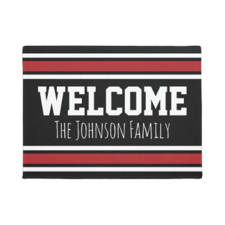 Black and Red Sports Jersey with Name - Welcome Doormat
