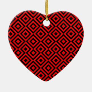 Black And Red Square 001 Pattern Ceramic Heart Decoration