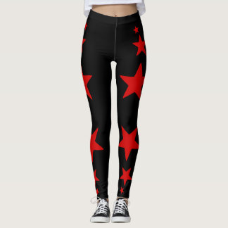 Black and Red Star Leggings