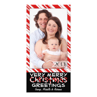 Black and Red Stripes Family Photo Christmas Cards Photo Card