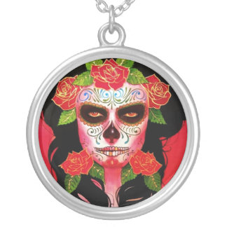 Black and Red Sugar Skull Necklace