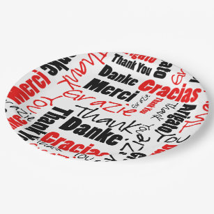 Black and Red Thank You Word Cloud Paper Plate  sc 1 st  Zazzle & Word Cloud Paper Plates u0026 Word Cloud Disposable Plate Designs ...