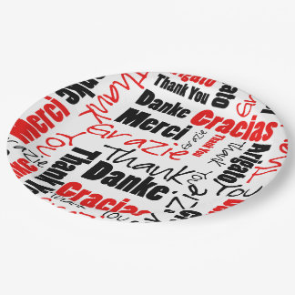 Black and Red Thank You Word Cloud Paper Plate
