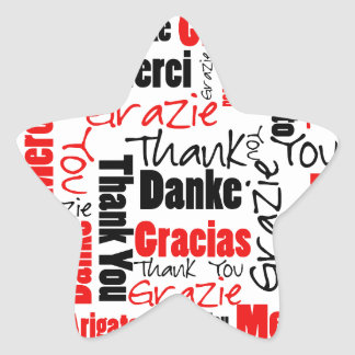 Black and Red Thank You Word Cloud Star Sticker
