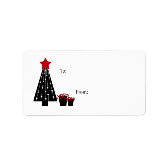 Black and Red Tree and Packages Gift Tags Address Label