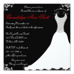 """Black and Red Wedding Gown Bridal Shower 5.25"""" Square Invitation Card"""