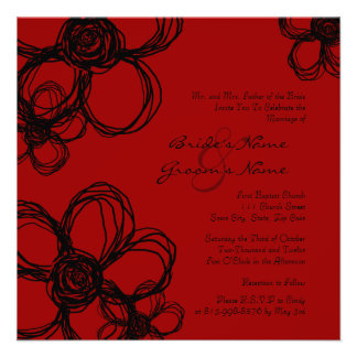 Black and Red Wild Flowers Wedding Invitation