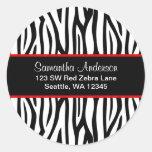 Black and Red Zebra Custom Address Label Round Stickers