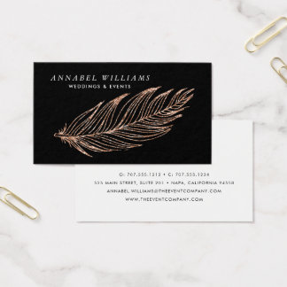 Black and Rose Gold Faux Glitter Feather Business Card