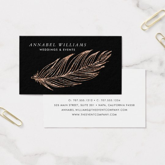 Black and Rose Gold Faux Glitter Feather Business