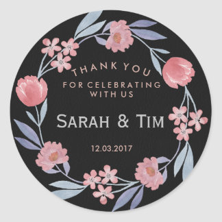 Black and rose gold floral wedding sticker