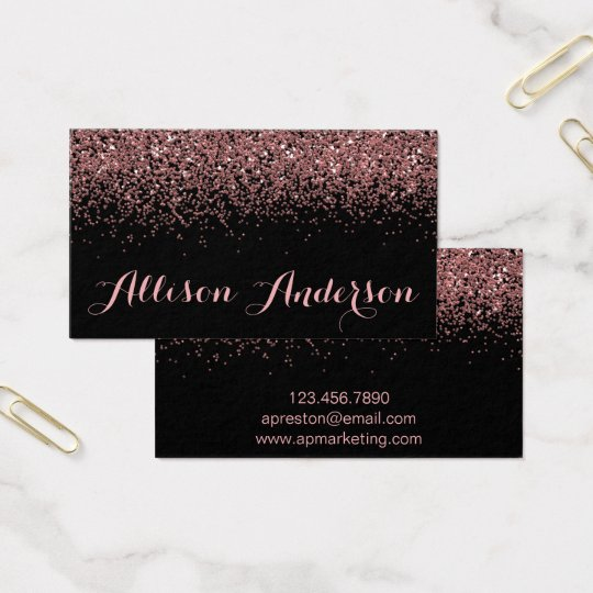Black and Rose Gold Glitter Business Cards