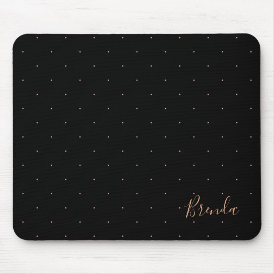 Black and rose-gold small dots pattern mouse mat