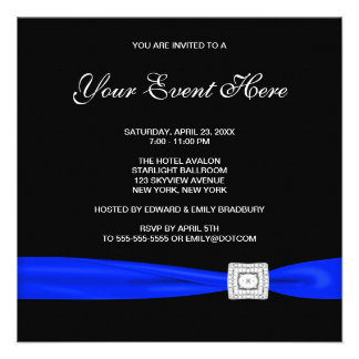 Black and Royal Blue All Occasion Invitation