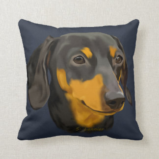 Black and Rust Dachshund Dog Cushion