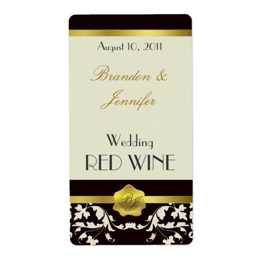 Black and Sand Monogram Wedding Mini Wine Labels