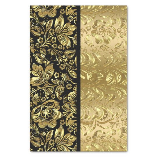 Black And Shiny Gold Floral Damasks Tissue Paper