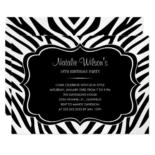 Black and Shiny Silver Zebra Birthday Invitations