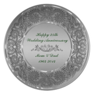 Black And Silver 25th Anniversary Plates