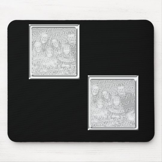 black and silver 2-photo frame mouse mat