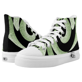 BLACK AND SILVER ABSTRACT SWIRL HIGH TOP SNEAKERS