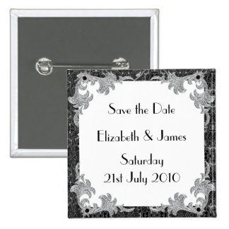 Black and Silver 15 Cm Square Badge