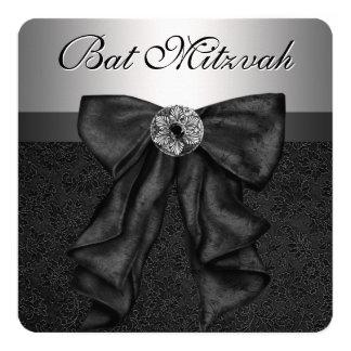 Black and Silver Bat Mitzvah 13 Cm X 13 Cm Square Invitation Card