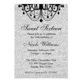 Black and Silver Chandelier Sweet 16 Birthday 13 Cm X 18 Cm Invitation Card