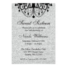 Black and Silver Chandelier Sweet 16 Birthday Card