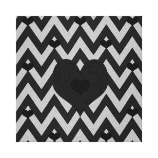 Black and Silver Chevron Heart Pattern Gallery Wrap Canvas